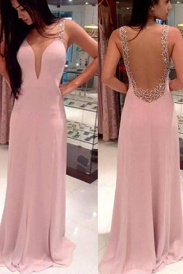 Pink Prom Dress, Prom Dress Backless, Prom Dress V-neck, Pretty Party Dress, V Neck Prom Dress