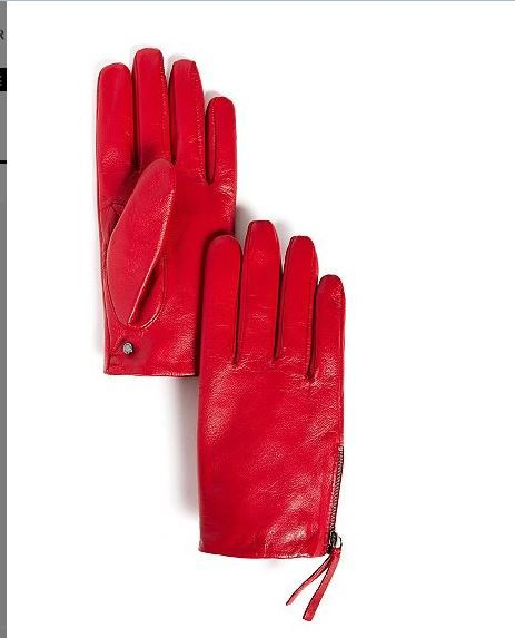 Love these red leather zipped gloves. Great Christmas gift. Soft leather with tasseled zip. From Armani Exchange $68.50.