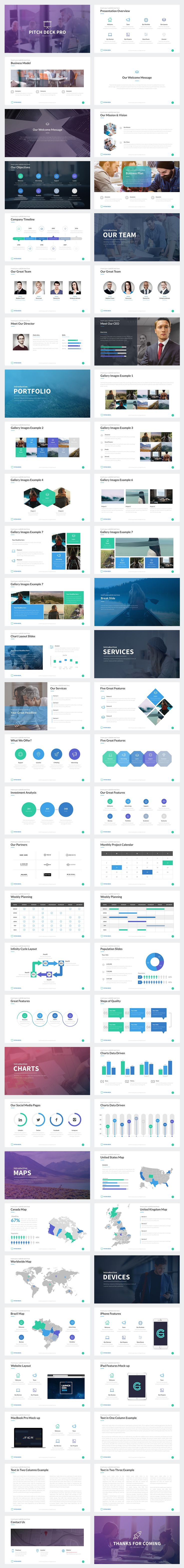 Pitch Deck Pro Powerpoint Template by Rocketo Graphics on @creativemarket