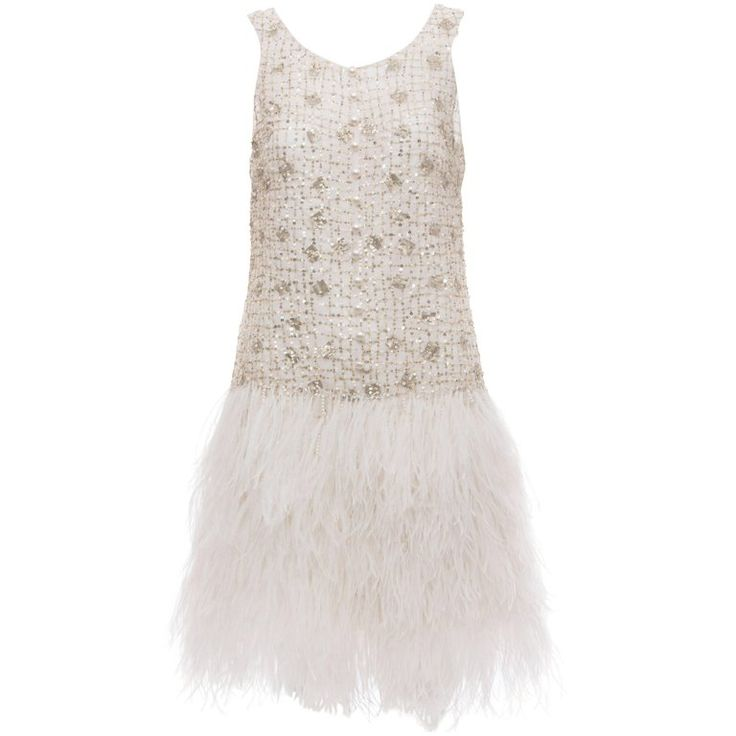 Oscar de la Renta Silk Metallic Sequin Pearl Evening Dress With Ostrich Feathers   1stdibs.com