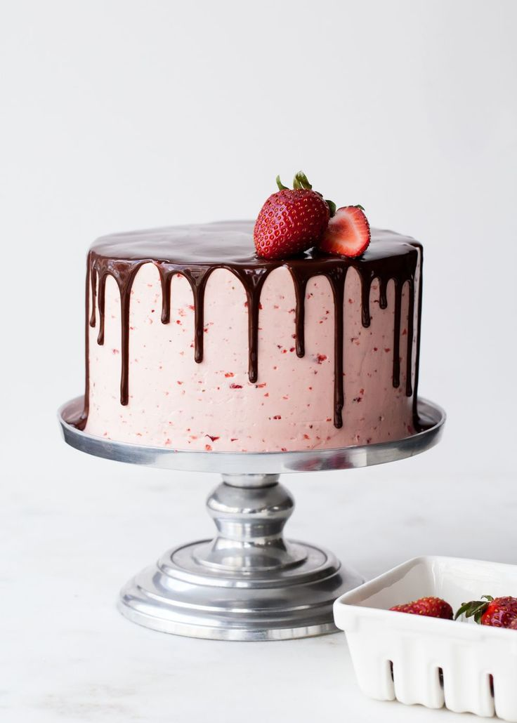 Six Layer Dark Chocolate Strawberry Buttercream Cake