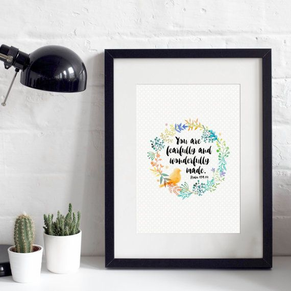 You Are Fearfully and wonderfully A4 Print - Christian Gifts - Christian Prints - Nursery Gift - Bible Verse Quote