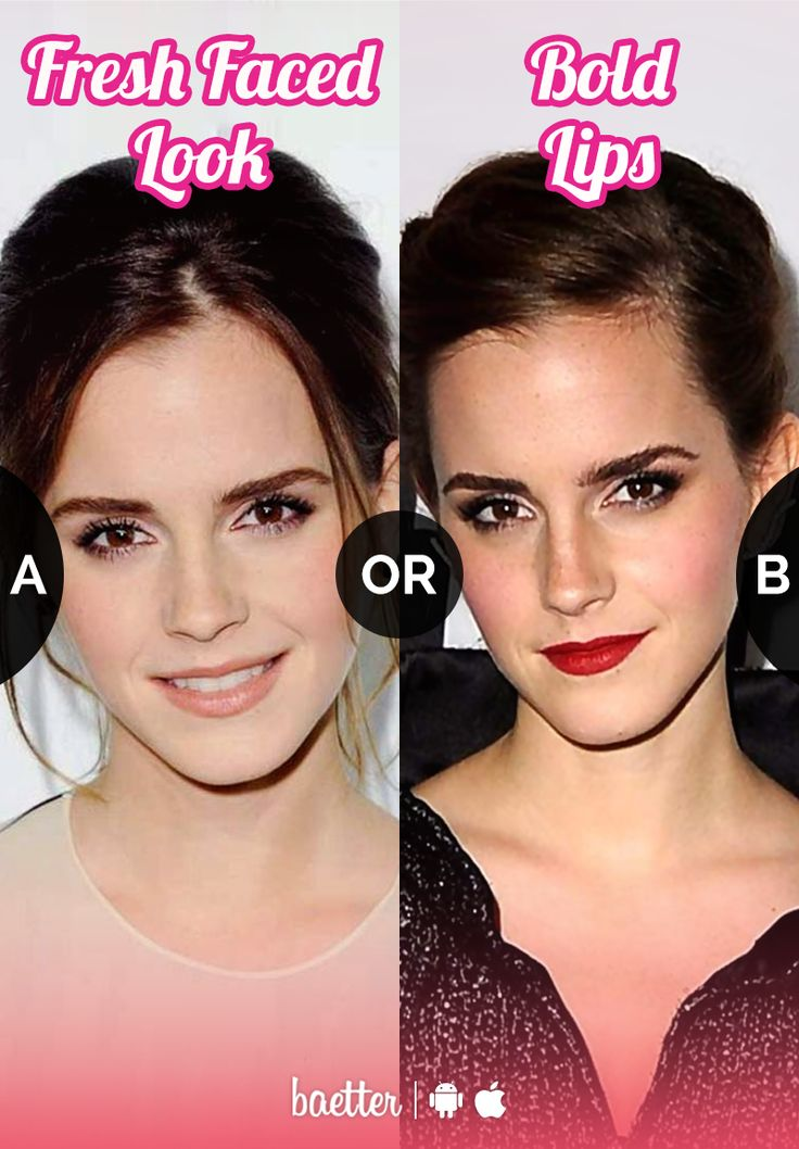 Which makeup look suits #EmmaWatson #FreshFacedLook or #BoldLips?  Vote on Baetter App