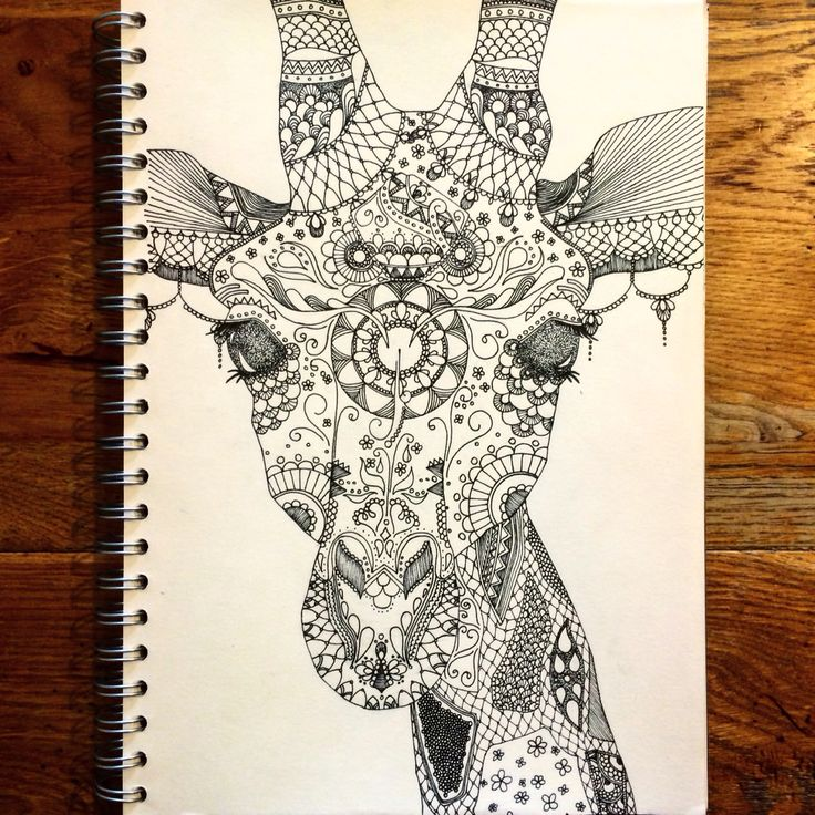 A4 zentangle giraffe in pen