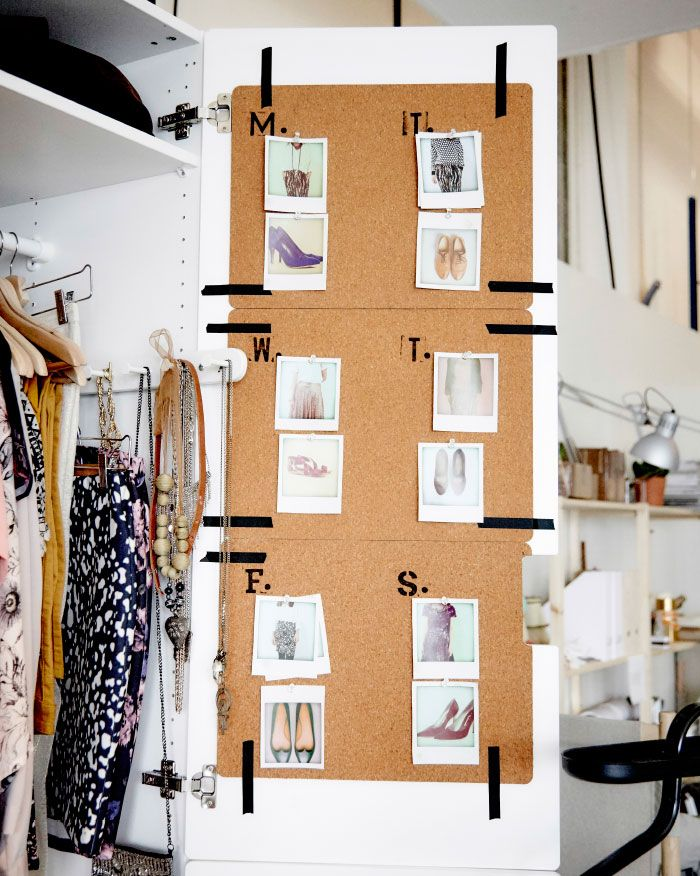 Cork place mats taped to the inside of wardrobe doors used as pin-up boards for photos of shoes and accessories