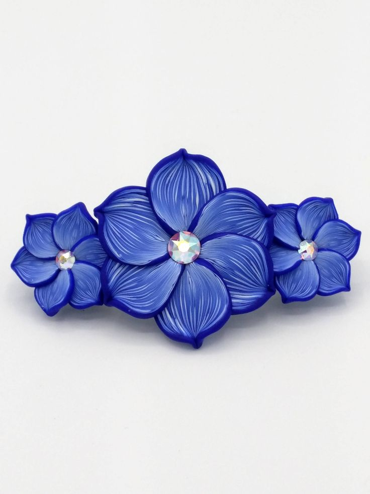 Three Indigo Flowers Barrette 3.25 Inches; Dark Blue; Spring Blossom; Floral Hair Accessory Fashion; Style No: BLF06 by EmilyMah on Etsy
