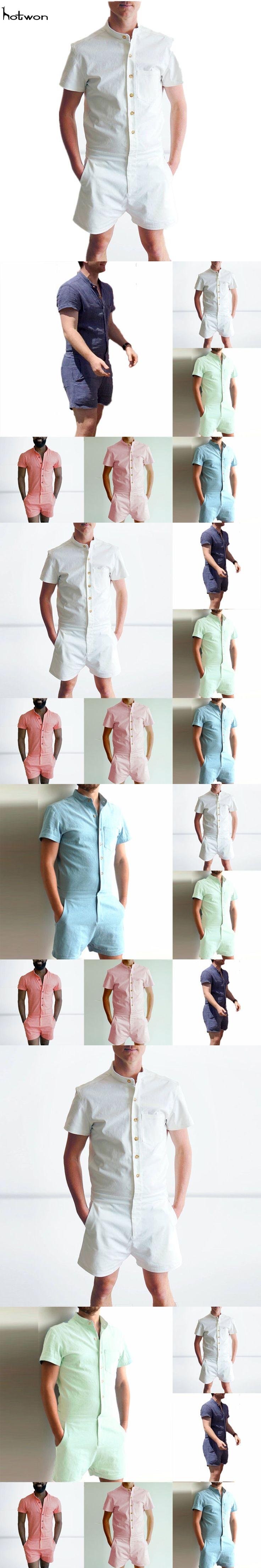 New Hot Sale Mens One-Piece Cotton Blend Jumpsuits Short Sleeve Cargo Work Pants Summer Coat