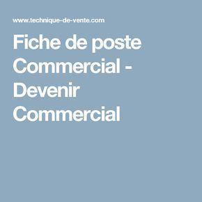 Fiche de poste Commercial - Devenir Commercial