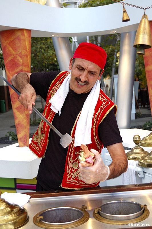 Dondurma (Turkish Ice Cream) and when you buy, he puts on a fun show too!