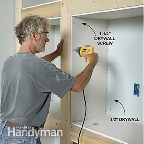 Install the drywall for the built-in bookcase.                                                                                                                                                                                 More