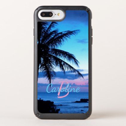 Custom Island Beach Pink Turquoise Blue Sunset Speck iPhone Case - pink gifts style ideas cyo unique