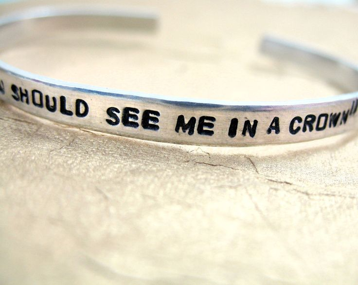 "A super-skinny, 3/16"" stackable aluminum cuff bracelet, hand-stamped with ""Honey, you should see me in a crown."" This bracelet is adjustable, and is made from pure, hypoallergenic aluminum. A great an"