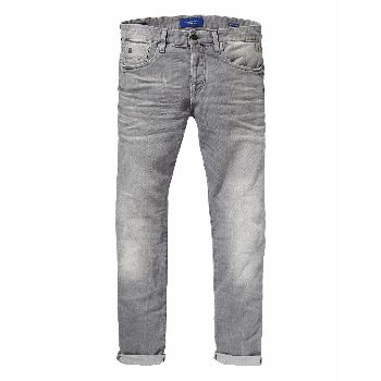 Scotch & Soda Grey Ralston Stone And Sand Jeans: An update on Scotch & Soda's famous 'revolution' wash, these grey Ralston slim fit jeans are in the perfect dark, just broken in wash.