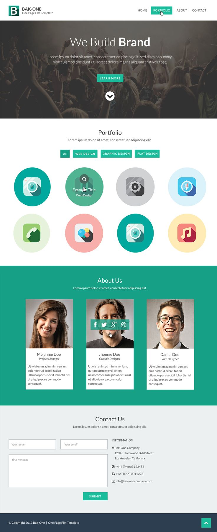 Free Flat Style Single Page Website Design Template PSD