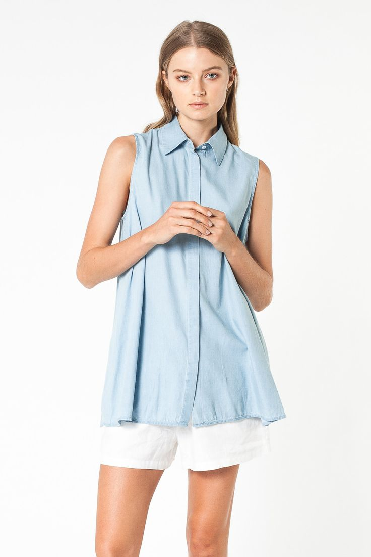 DIVISION SLEEVELESS SHIRT DENIM - SHIRTS - SHOP WOMENS Assembly Label