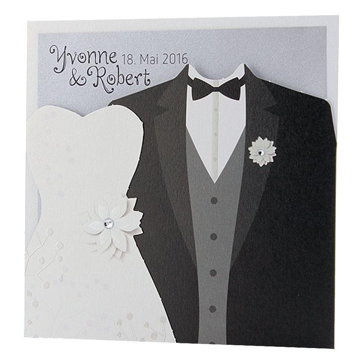 """Hochzeitskarte """"Brautpaar"""" - edle Materialen - ein ausgefallener Blickfang!"""