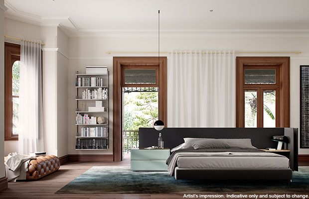 The beautiful master bedroom of Moreton Manor.