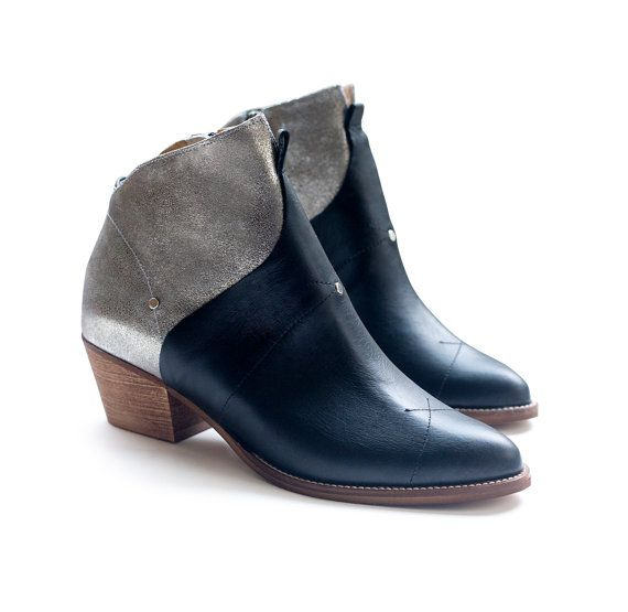 Sale 30% off Women shoes Black and silver boots by LieblingShoes