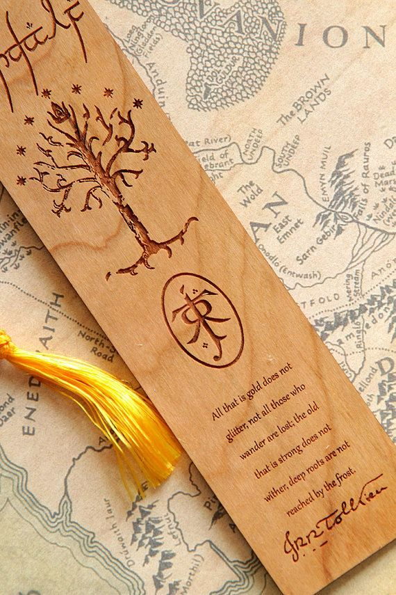 Lord Of The Rings style bookmark made from 1/16 solid Cherry wood. BOTH sides of this bookmark are engraved with Gandalf on the front and Bilbo on the