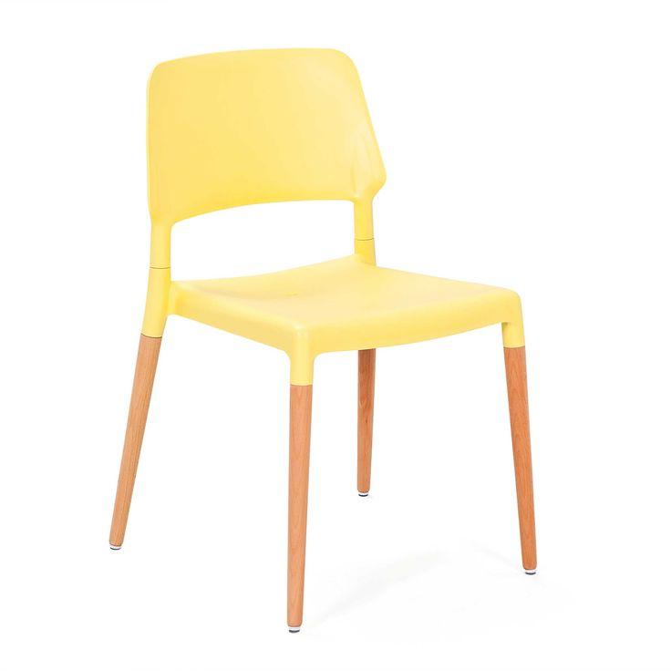 Chaise de salle à manger jaune avec pieds en hêtre massif