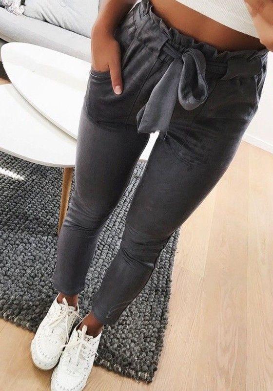 Grau Taschen mit Bindegürtel Schleife Hohe Taille Beiläufige Damen Hosen Stoffhose Karottenhose