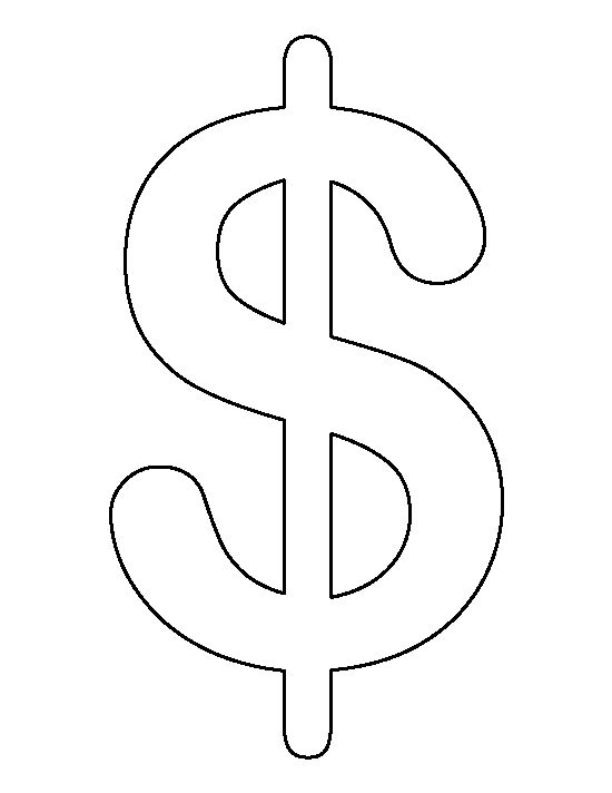 Dollar sign pattern. Use the printable outline for crafts