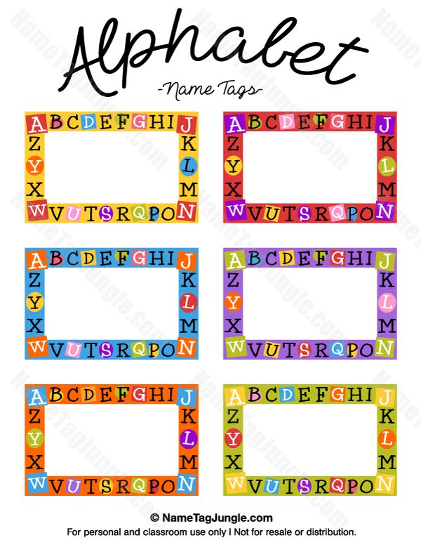 Free printable alphabet name tags. The template can also be used for creating items like labels and place cards. Download the   PDF at http://nametagjungle.com/name-tag/alphabet/