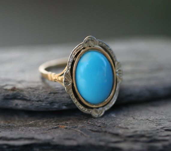 French Hallmarked Victorian 18k White and Yellow Gold Turquoise Ring - JL
