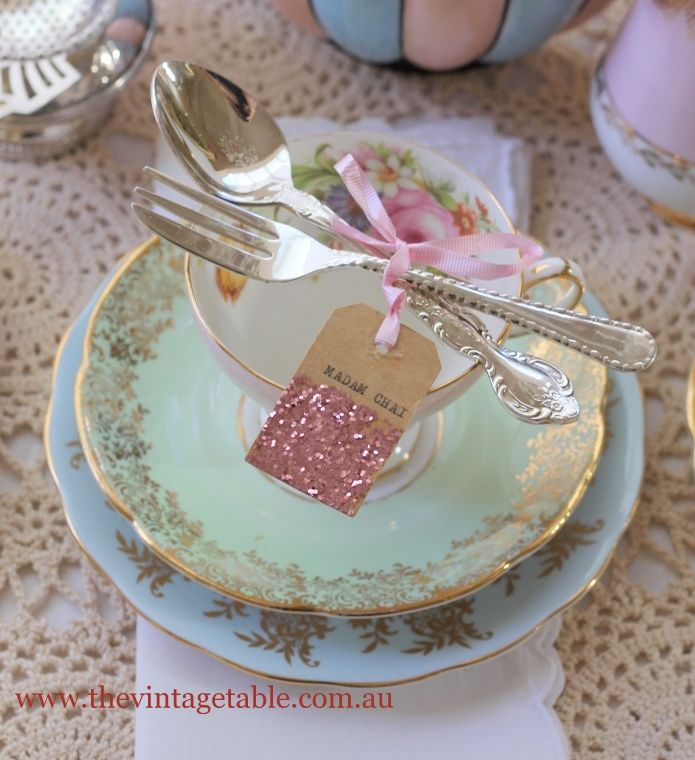 Shabby, but Chic ECLECTIC Tea Party Place Setting! | IDEA: Could add a piece of Glitter Tape to Tea Bags to add some extra Sparkle!
