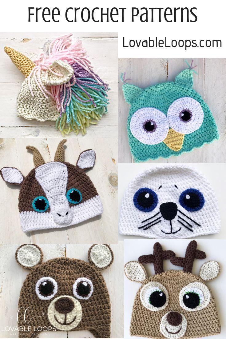 Free Animal Hat Crochet Patterns Unicornhat Owlhat Goathat Sealhat Bearhat Deerhat Freecrochetp Crochet Hats Crochet Animal Hats Crochet Character Hats