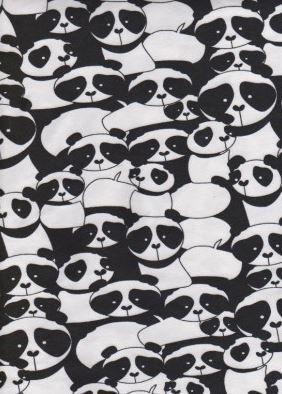 KNIT fabric: Panda Jumble! Cotton lycra fabric. Sold by 1/2 yard.
