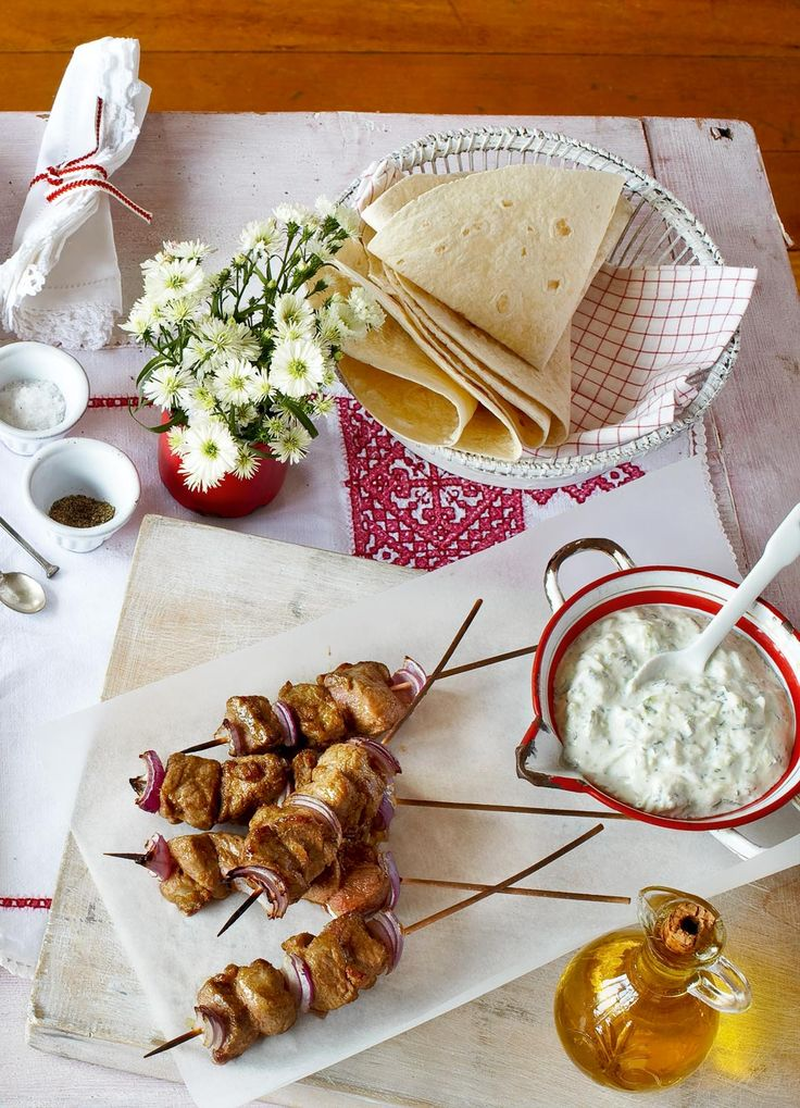 Fire up the grill or barbecue for this one hour menu of kebabs and salad and gooseberry fool.