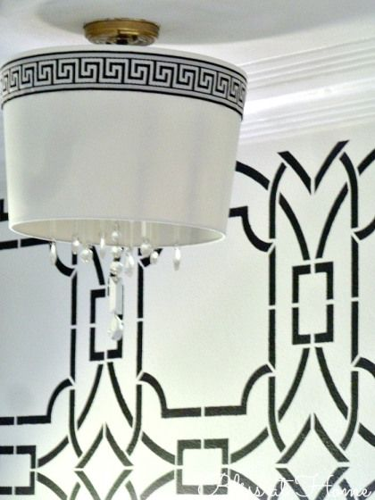 diy foyer drum shade chandelier with bold accent wall, Bliss At Home featured on Remodelaholic