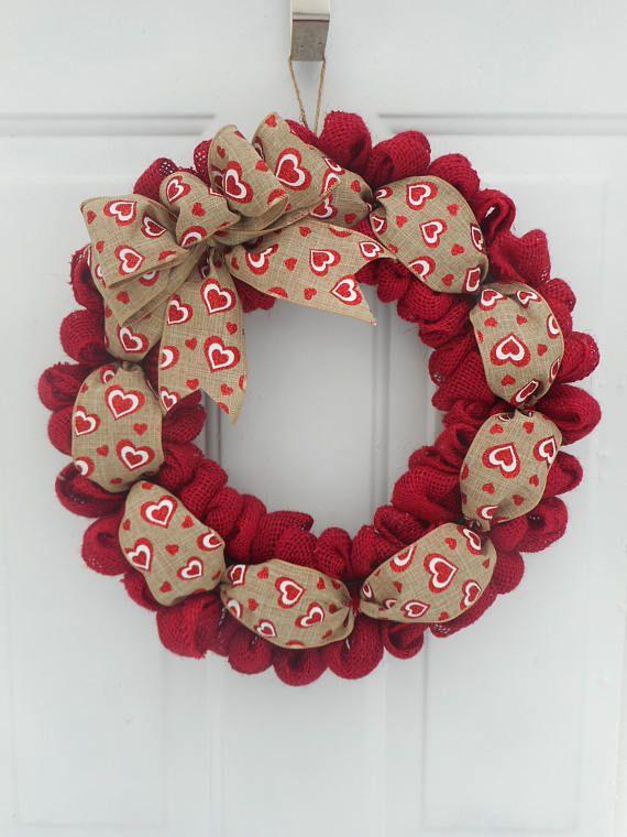 Valentine Decor Valentine Door Burlap Valentine Wreath Valentine Burlap Valentine/'s Day Wreath red white burlap Valentine Wreath