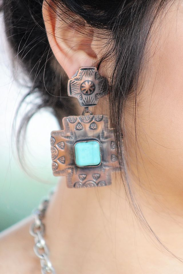 Large Copper and Turq Cross Earring