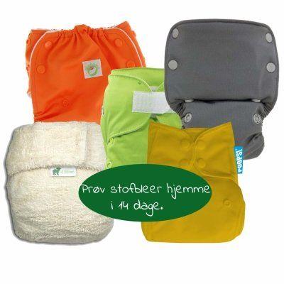 Prøvepakke med stofbleer. Lån i 14 dage mod depositum (50,-)
