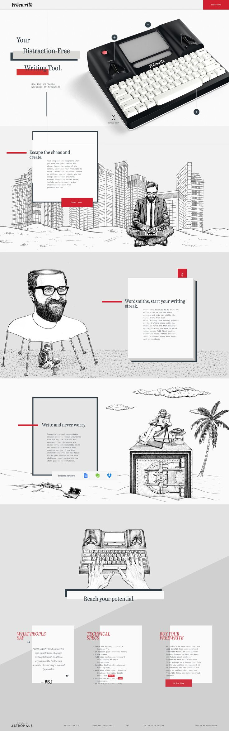 "Awesome Parallax scrolling One Pager filled with fun custom illustrations and animations for a new ""smart typewriter"" product called 'Freewrite'."