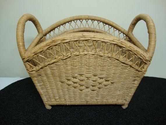 Woven Wicker Magazine Basket