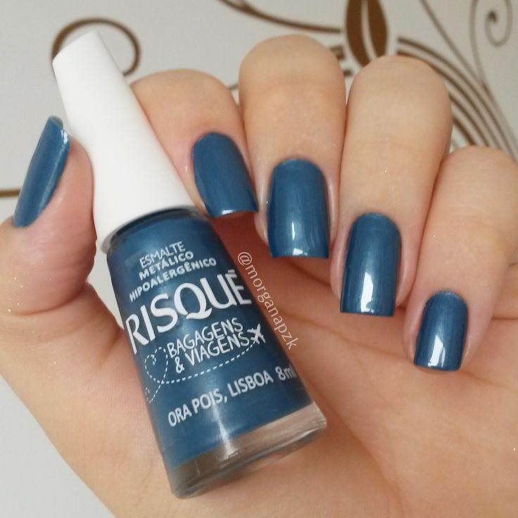 Esmalte Ora Pois, Lisboa da Risqué. Unhas azuis. Blue nails. Nail art. Nail design. Polishes. Polished. by @morganapzk