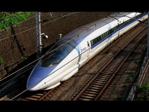 This is certainly the most beautiful train in the world, the Japanese high speed train Shinkansen 500 series!  Since 1997 on the Tôkaidô line between Tôkyô and Hakata (Fukuoka) -Nozomi service, and on the San-yô line between Shin-Ôsaka and Hakata -Kodama service since 2009.