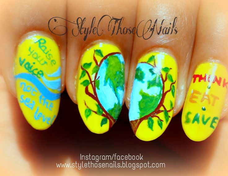 Style Those Nails: World Environment Day 2014 Nailart- Raise your voice ; Not the sea level #earthday #environmentday #environmentdaynails #greennails #earthnails