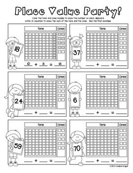 """Sample page from """"LET'S PRACTICE PLACE VALUE! {STUDENT WORKSHEETS FOR GRADES 1-2}"""" 28 pages, $ #placevalue"""