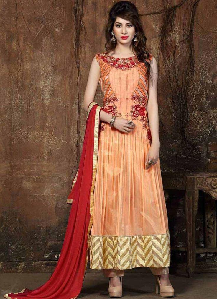 Titillating Orange Anarkali Salwar Suit