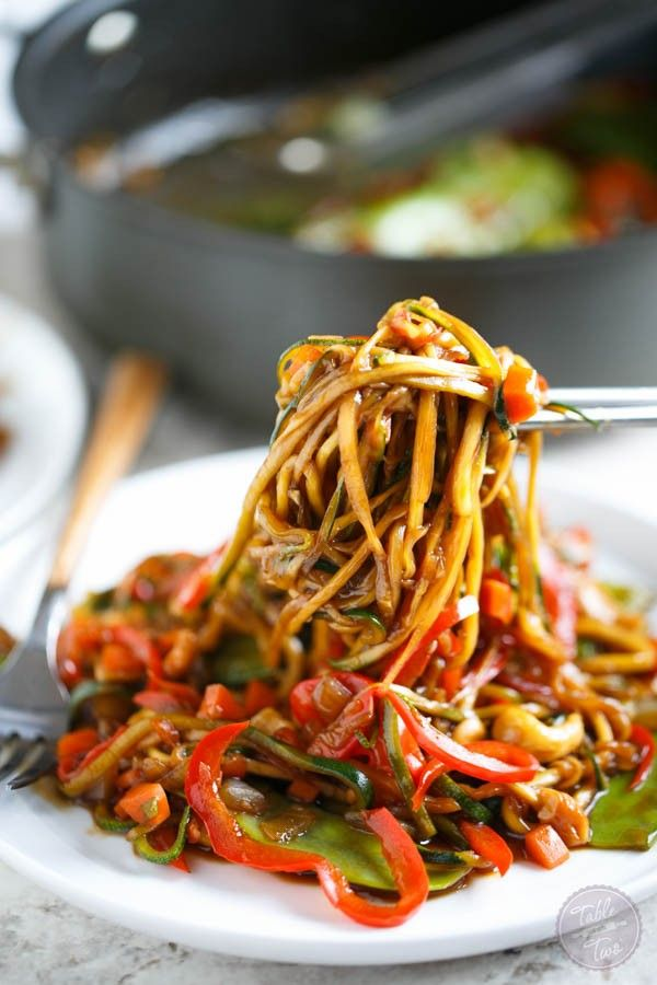 This easy zucchini noodle cashew stir fry made with The Inspiralizer will have you licking your plate clean! Dinner comes together in less than 30 minutes!