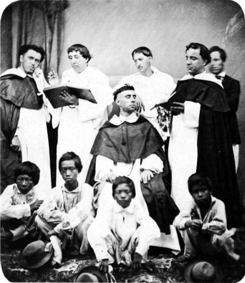 Spanish friars of the Dominican Order, ca 1875-1880.  A major cause of the Philippine Revolution was the tyranny, oppressive practices and blatant racism of the religious orders Philippine-American War, 1899-1902 | by Arnaldo Dumindin
