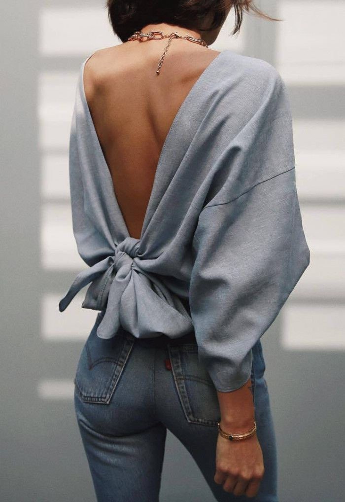 best outfit _ openback blouse skinny jeans