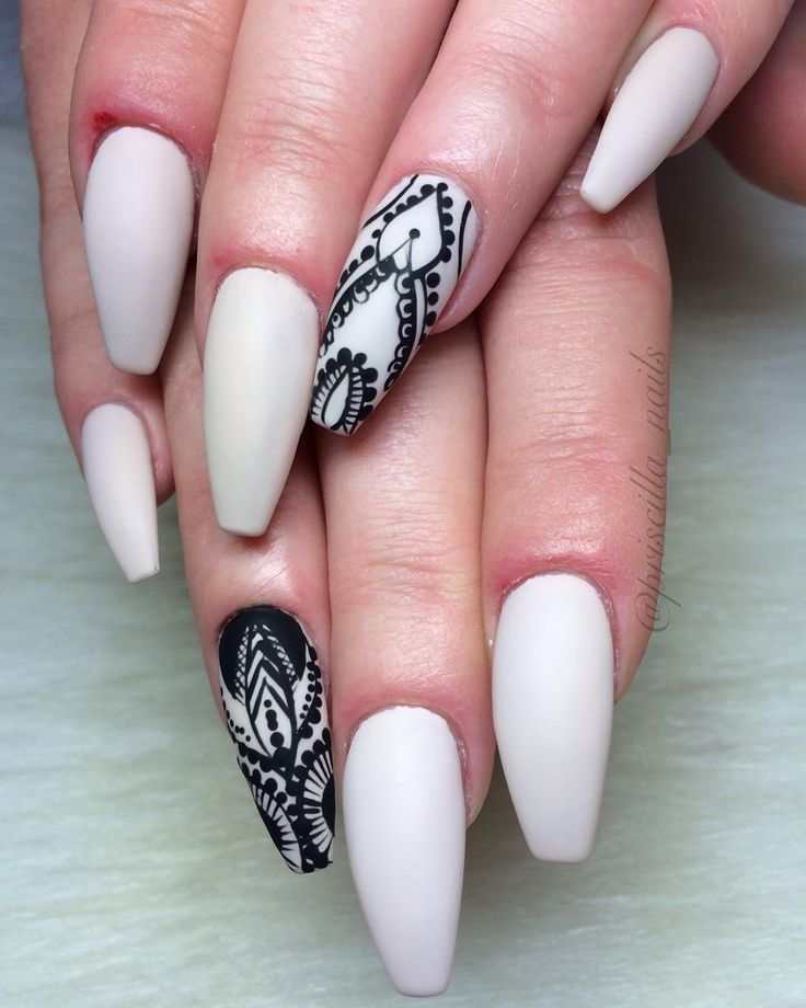 White matte + Black lace Long Coffin Nails - Freestyle hand drawn nail art #nail #nailart