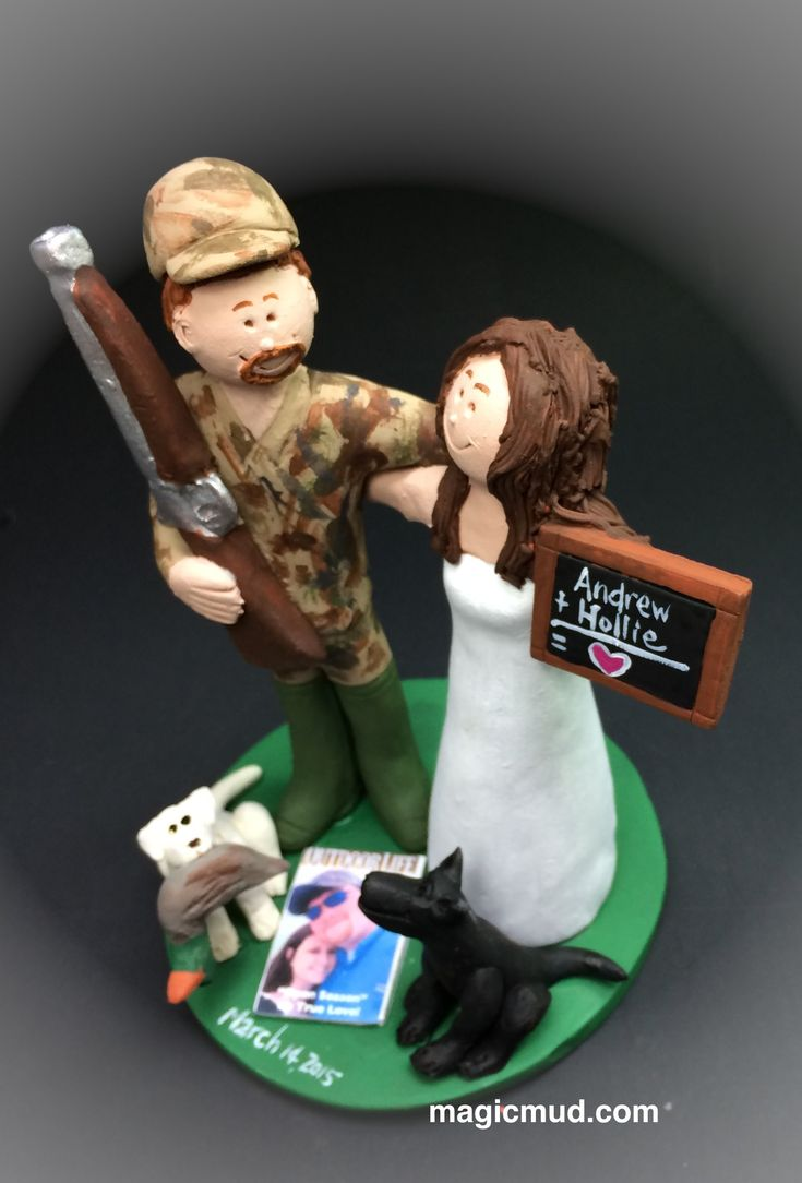 video of Redneck's Wedding Cake Topper by http://www.magicmud.com  $235 Perfect caketopper for a Hunter, Sportsman, Redneck, Camouflaged Good Old Boy. #hunter #hunting #duckHunting #shotgun #camouflage #camo  #wedding #cake #toppers #custom #personalized #Groom #bride #anniversary #birthday #weddingcaketoppers #cake-toppers #figurine #gift #wedding-cake-toppers