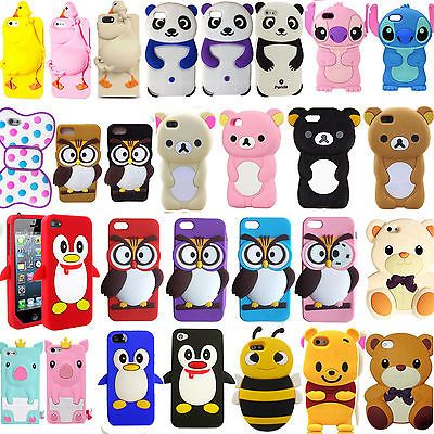3D Cute Cartoon Soft Silicon Case Cover For I phone Samsung