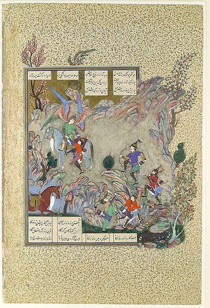 """The Angel Sorush Rescues Khusrau Parviz from a Cul-de-sac"", Folio from the Shahnama (Book of Kings) of Shah Tahmasp"